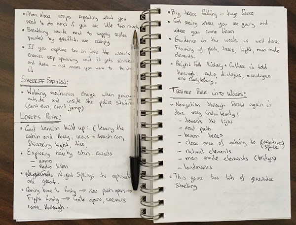 12 pages of Alan Wake level design and game art notes I took