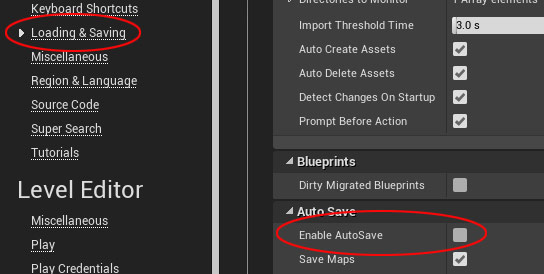 Disabling AutoSave