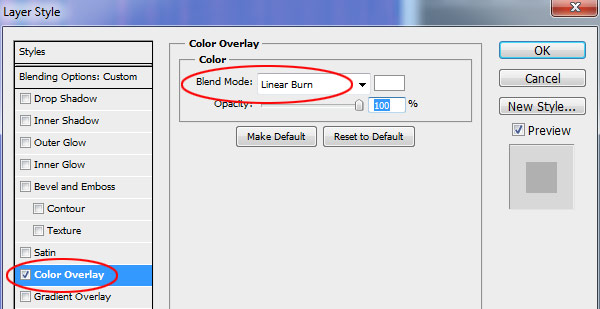 Color Overlay to Linear Burn