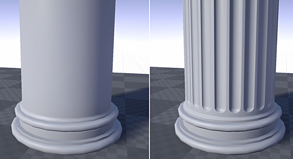 Without and with Normal Map applied in UE4