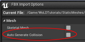 Auto Generate Collision in FBX Import Options