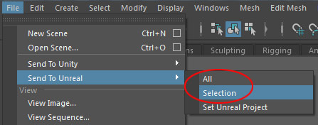 File > Send to Unreal > Selection or All