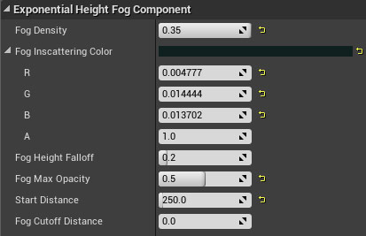 Exponential Height Fog properties