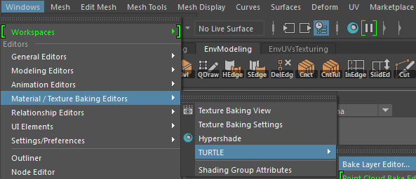 Windows > Material/Texture Baking Editors > Turtle > Bake Layer Editor