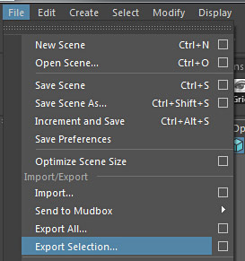 File > Export Selection