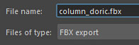 File name and Files of type as FBX