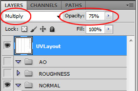 UV Snapshot blend mode to Multiply and Opacity change